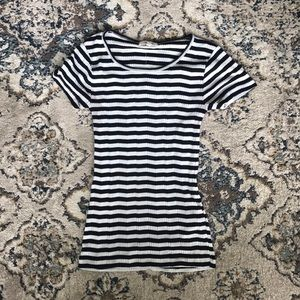 Skinny ribbed striped tee